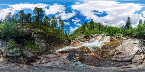 mountain river with rapids in the taiga forest. Spherical panorama 360vr degrees