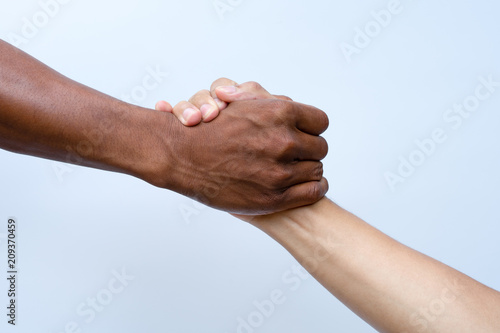 Fotografie, Obraz Helping hands, Rescue gesture. clipping path.