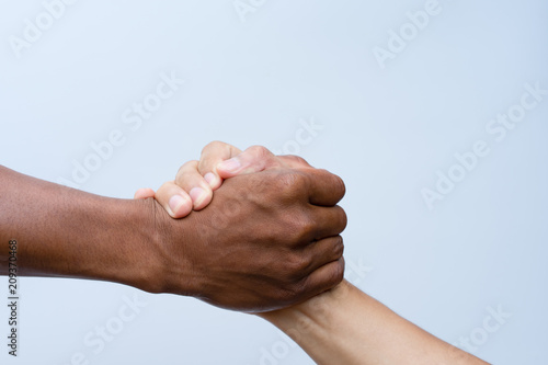 Fototapeta Helping hands, Rescue gesture. clipping path.