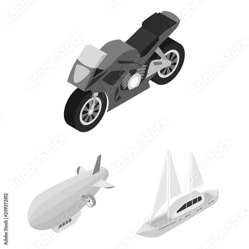 Fotografia  Different types of transport monochrome icons in set collection for design