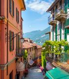 Fototapeta Uliczki - Picturesque small town street view in Bellagio, Lake Como Italy