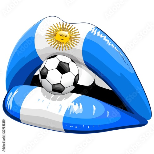 In de dag Draw Argentina Flag Lipstick Soccer Supporters