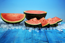 Watermelon On Blue Background....