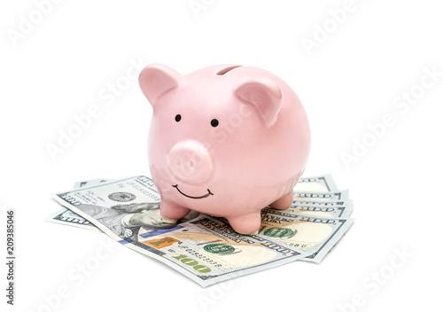 Fototapeta Piggy bank with money on white background. obraz