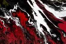 Abstract Black Fluid Acrylic Painting On Canvas