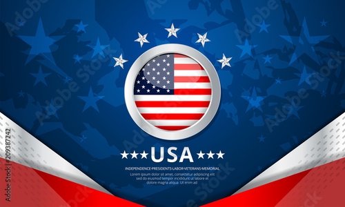 Fotografia  Flag of USA background for independence, veterans, labor, memorial day and other
