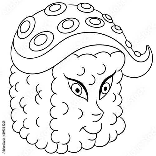 Sushi roll. Traditional Japanese food. Coloring page ...