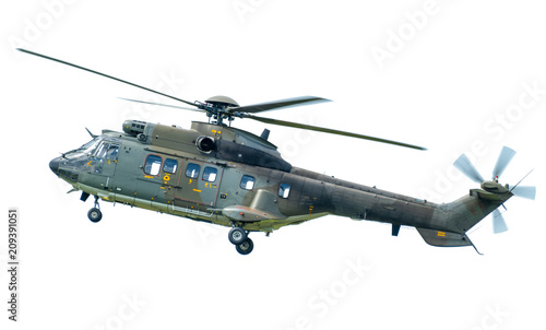 Spoed Fotobehang Puma AS332 Super Puma helicopter, isolated on white