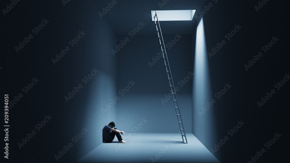 Fototapety, obrazy: A man is sitting depressively in a room with a ladder
