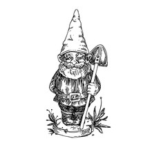 Figure Of Garden Gnome With Shovel. Sketch. Engraving Style. Vector Illustration.