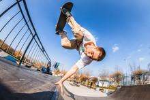 Skater Make Handplant In Mini ...