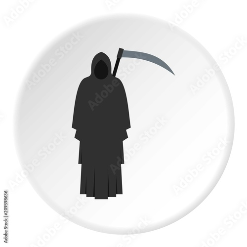 Grim reaper icon in flat circle isolated on white background vector illustration Wallpaper Mural