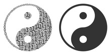 Yin Yang Composition Icon Of Zero And Null Digits In Various Sizes. Vector Digits Are Scattered Into Yin Yang Mosaic Design Concept.