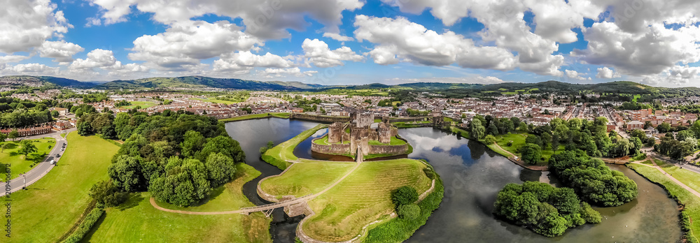 Fototapety, obrazy: Aerial view of Caerphilly castle in summer, Wales