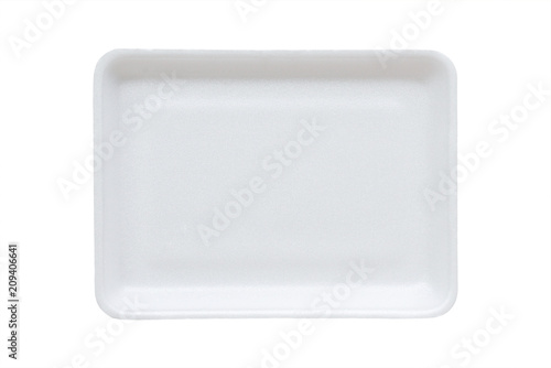 white food tray made from polystyrene foam isolated background with clipping pat Canvas Print