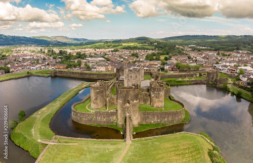 Fotografiet  Aerial view of Caerphilly castle in summer, Wales