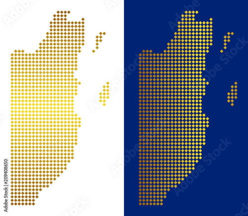 Golden Dotted Belize Map Vector Geographic Maps In Bright Colors With Vertical And Horizontal Gradients Abstract Pattern Of Belize Map Designed Of Rhombic Elements Buy This Stock Vector And Explore Similar