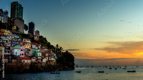 Cadres-photo bureau Brésil Salvador Bahia Brazil 02/27/2016 sunset paradise and boats