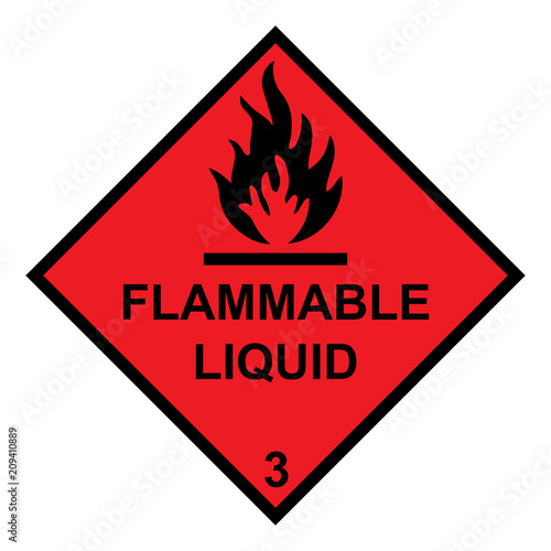 Fotografie, Obraz  Flammable Liquid Diamond With Flames Symbol