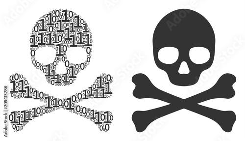 Cuadros en Lienzo Death skull mosaic icon of zero and null digits in random sizes