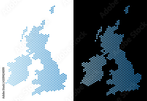 Fotografia Hex Tile Great Britain and Ireland map