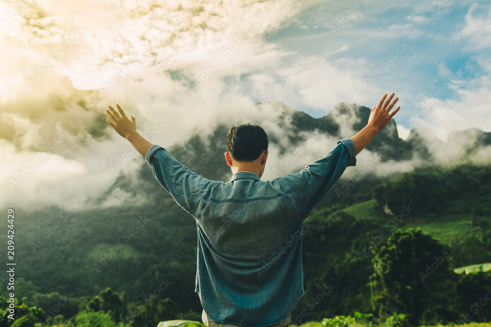 Fototapety, obrazy: Hands man pray in morning with sunlight,Have relationship with God