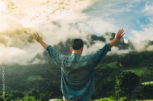 Canvas-taulu Hands man pray in morning with sunlight,Have relationship with God