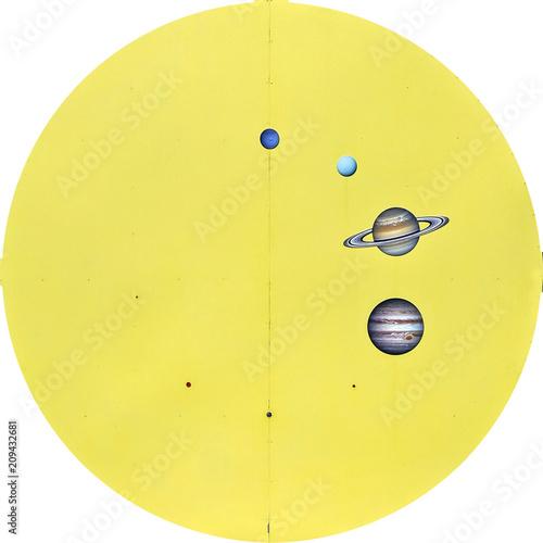 grafico delle proporzioni sistema solare - 626v