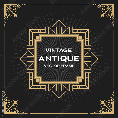 Luxury Vintage Artdeco Frame Design Vector Illustration Buy This