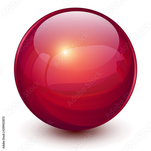 Fotografía  Red sphere, 3D vector ball.