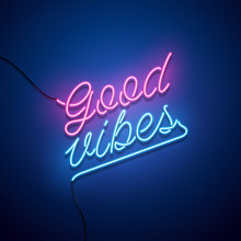 Good Vibes Neon Sign. Vector I...