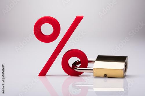 Photo  Percentage Sign Locked With Keypad Lock