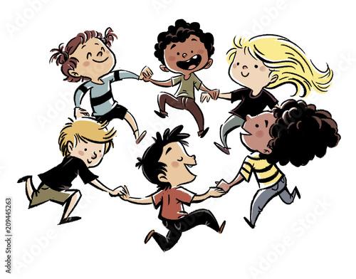Fototapeta niños jugando en grupo obraz