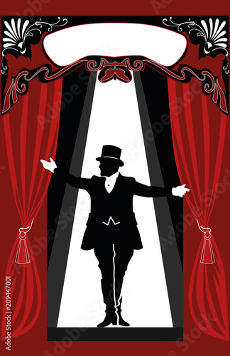 Circus Announcer in the middle of the stage Canvas Print