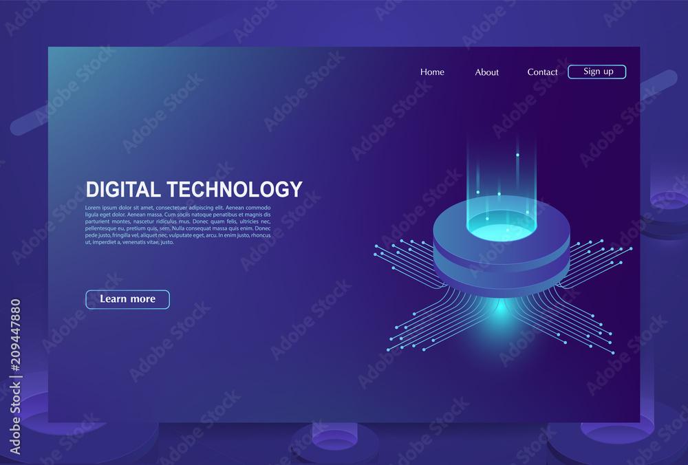 Fototapeta Concept of big data processing center, cloud database, server energy station of future. Digital information technologies.