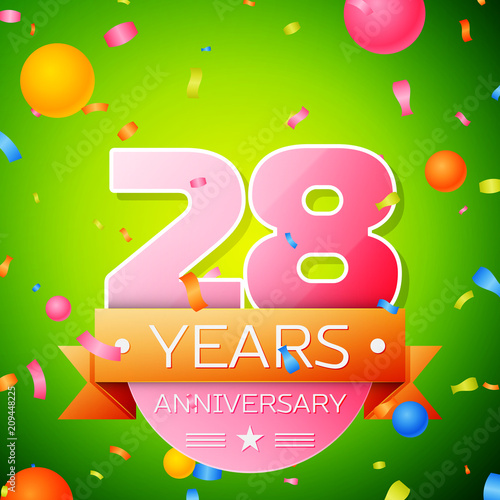 Poster  Realistic Twenty eight Years Anniversary Celebration Design