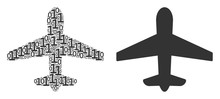 Airplane Mosaic Icon Of One And Zero Digits In Different Sizes. Vector Digits Are Composed Into Airplane Composition Design Concept.