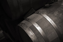 Wooden Barrel With Red Wine In...