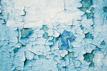 Grunge Blue Wall With Peeling Paint, Close-up