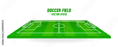 Obraz Soccer field vector illustration. Football pitch isolated on white background. - fototapety do salonu
