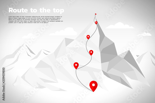 Fotomural Route to the top of mountain: Concept of Goal, Mission, Vision, Career path, Pol
