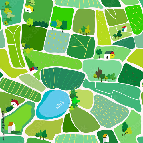 Landscape seamless pattern for the countryside, with houses and roads, top view. Vector graphic illustration