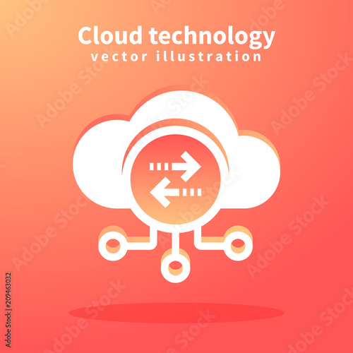 Photo Cloud icon, vector illustration for web design