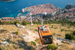 Panorama view of cable car and Dubrovnik old town