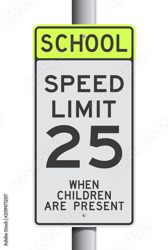 Fotomural School Speed Limit road sign on post