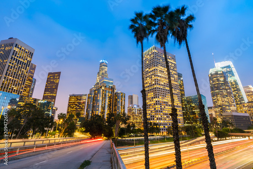 Foto auf Leinwand Los Angeles Los Angeles Downtown Sunset