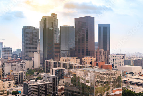Tuinposter Los Angeles Aerial Los Angeles downtown