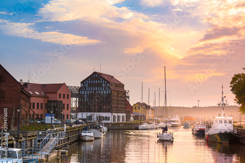 Photo sur Toile Europe du Nord Lithuania, Klaipeda at night. Old Town and Dane river.