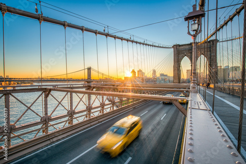 Staande foto New York City Brooklyn Bridge und Manhattan Bridge in New York City, USA