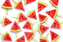Watermelon Slice Popsicles Isolated On White Background,Fruit Background